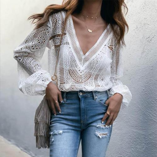 Fashion Pure Color Deep V Hollow Out Long Sleeve Shirt