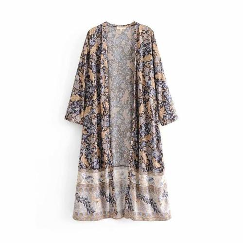 Boho Robe, Duster, Feather in Black