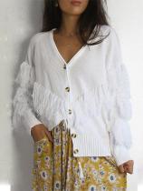 Sexy Fashion V Collar Long Sleeves Tassels Plain Knitting Shirt