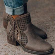 Women's fashion solid color hollow ankle boots