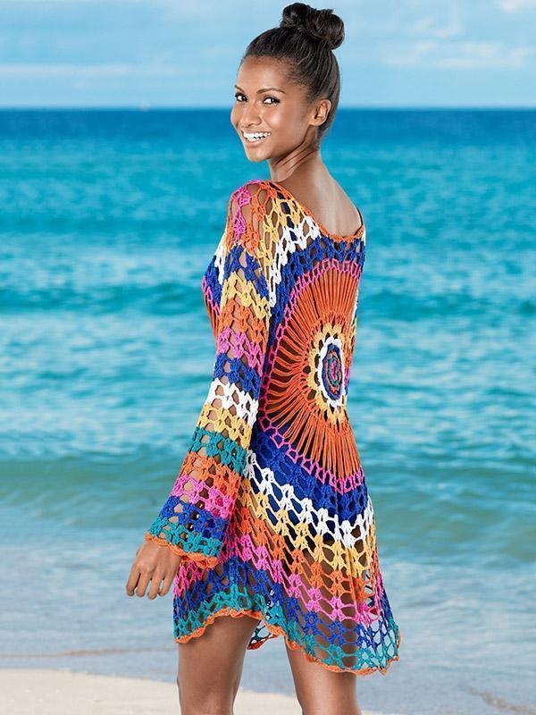 Crochetgo Colorful Knitting Cover-up Swimwear