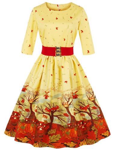 EBUYTIDE Women's Half Sleeve Floral Vintage Dress