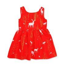 Christmas Girls Short Sleeve Elk Print Swing Dress