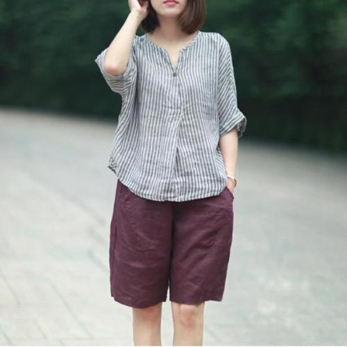 Cotton and Linen Casual Striped Blouse