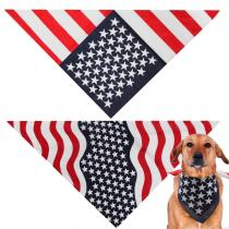 American Flag Pet Cotton Dog Bandana Washable Dog Scarf Square Neck Head Scarf for Dogs and Cats