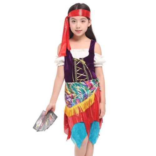 Kids Caribbean Pirate Costume Girls Pirate Dress Halloween Carnival Stage Performance Costume