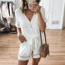 EBUYTIDE Fashion Solid Color V-Neck Short Sleeve Casual Jumpsuit