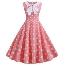Pink Polka Dot Print Vintage Dress Women Summer Retro 50s 60s Peter Pan Collar Pinup Rockabilly Party Office Dress 2020 Vestidos