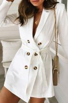 Sexy Stacked Collar Buttoned Tunic Trench Coat