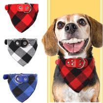 Pet Accessories Dog Bandanas Collar Plaid Cat Triangular Scarf Puppy Neckerchief Adjustable Collar for Small Medium Large Dogs