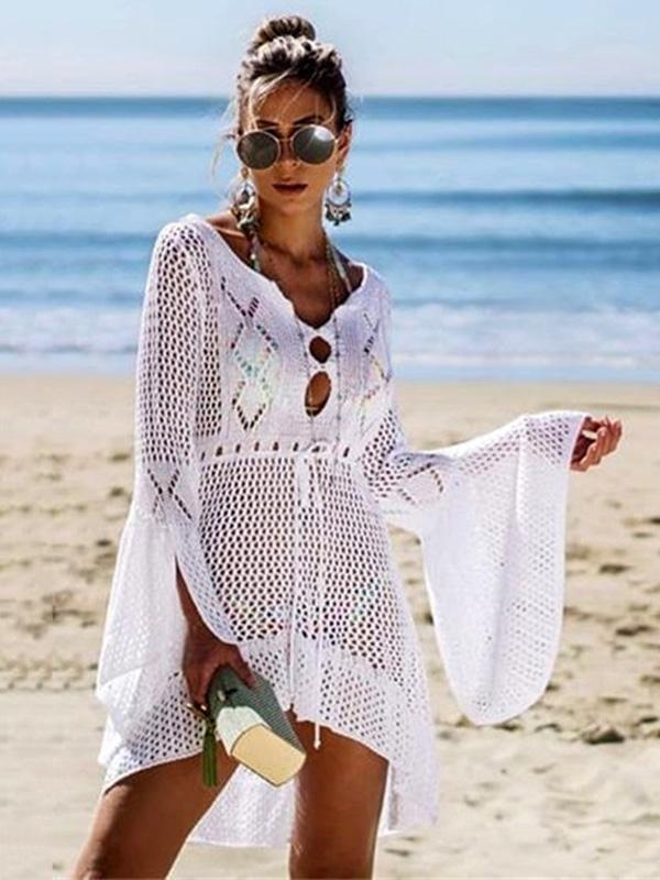 Flared Sleeves Crochet Swimwear Cover-ups