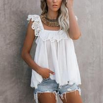 Casual Pure Colour Robbie Cotton Eyelet Ruffle Tank