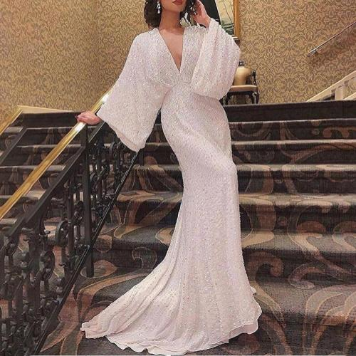 Sexy V-neck Long-sleeved Pure White Evening Dress
