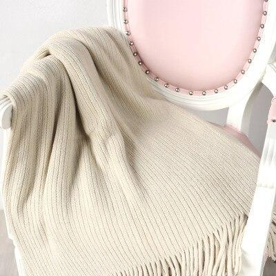 Cashmere-Like Knitted Thread Blankets Manta Solid Striped Travel TV Nap Sofa Throw Blanket Knit Couch Cover Bed Runner Bedspread