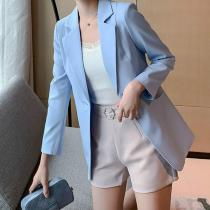 Korean Spring Autumn Blazer Feminino Womens Blazers Mulheres New Casual Mid-Length Long-Sleeve Suit Jacket Office Suit Women