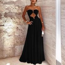 Sexy Sleeveless Bare Back Off-Shoulder Splicing MaxiDress
