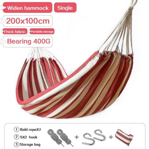 Hammock outdoor single widening swing student indoor bedroom dormitory thick canvas camping anti-rollover hanging chair200X100cm