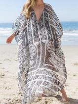 Plus Size Loose Beach Printed Swimwear Cover-ups