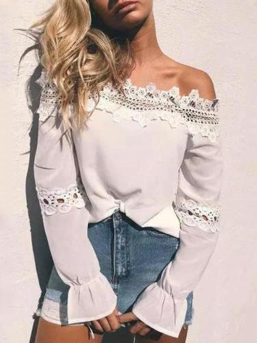 Elegant Sexy Fashion Loose Plain Lace Off Shoulder Puff Long Sleeve Blouse