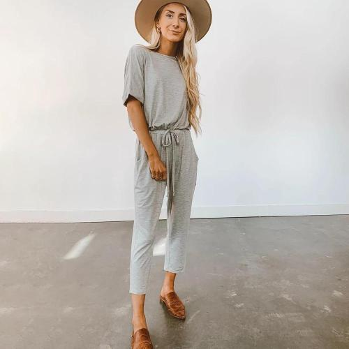 EBUYTIDE Casual Round Neck Short Sleeve Fitted Daily Jumpsuit