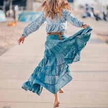 Bohemian Printed Ruffled Stitching Belt Casual Maxi Dress
