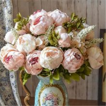 1Bunch European Artificial Peony Flowers Vivid Silk fake Flowers Peonies For Home Hotel decor DIY Wedding Decoration Drop ship