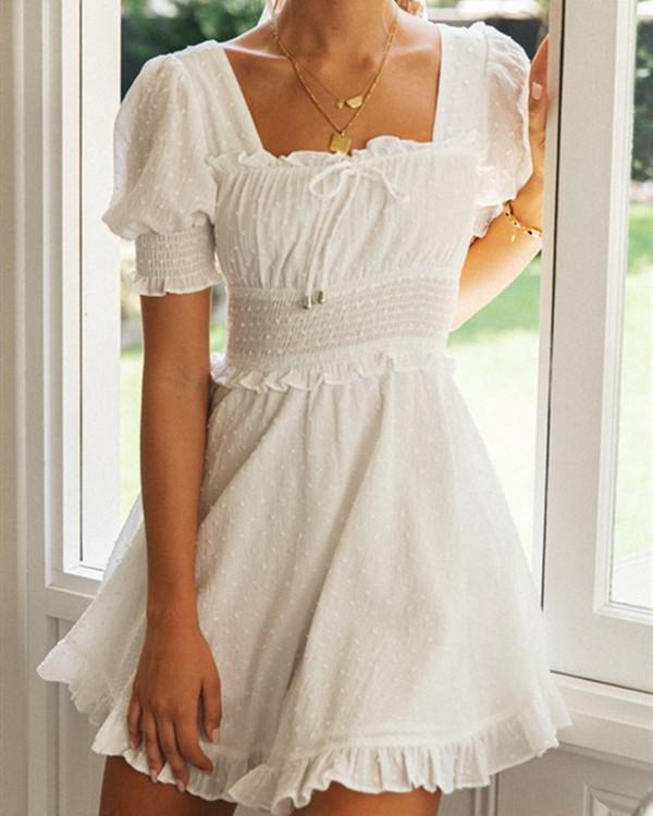 Solid Color Square Collar Puff Sleeve Lace Back Dress