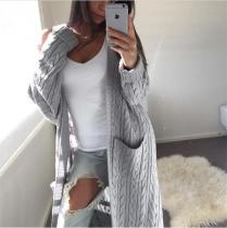 Cabel Knitwear Two Pockets Women Oversized Long Cocoon Cardigan