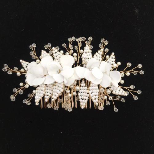 Women Wedding Headpiece With Comb Handmade Flowers Pearls Bead Bridal Hair Headband Wedding Accessories