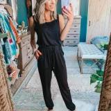 EBUYTIDE Casual Lounge Sleeveless Plain Jumpsuit