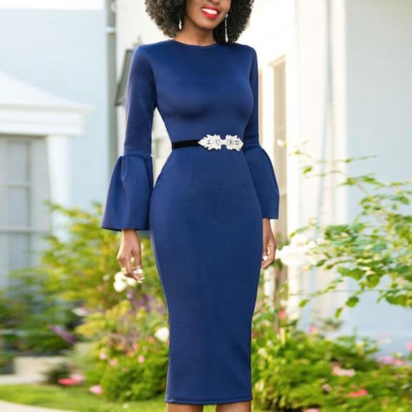 Sexy Solid Color Flying Sleeve Bodycon Dress