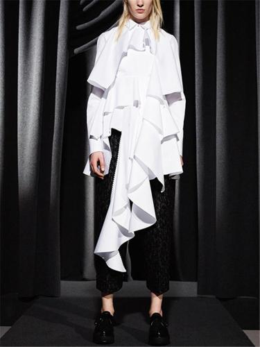 Fashion street style irregular white long blouse