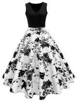 Plus Size 1950s Floral Polka Dot Dress