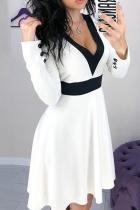 Fashion V Neck Waisted Splicing Long Sleeve Pure Colour Mini Dresses