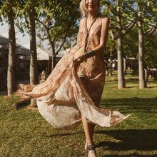 Elegant Sexy Floral Print Maxi Vacation Dress
