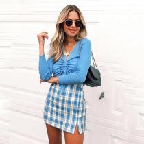 plaid cut skirt women 2020 summer autumn vintage cara mini skirt retro checkboard blue skirt zipper bodycon split skirt girl