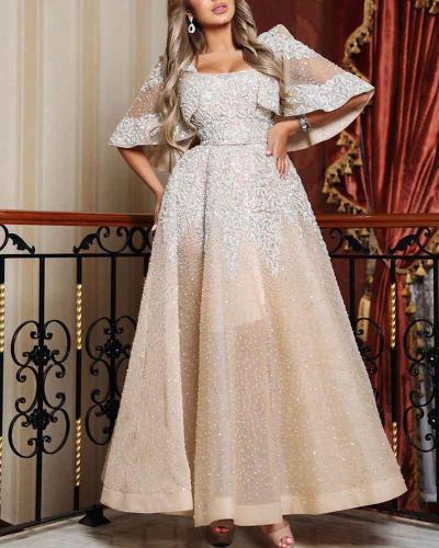 Elegant Mesh Sequin Evening Dress