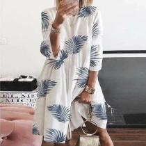 Elegant Loose Casual Leaf Print Crew Neck Dress