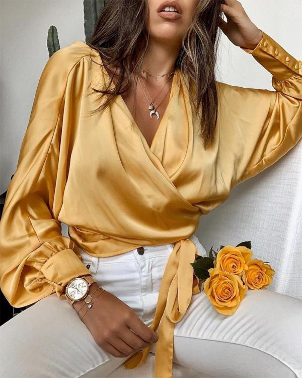 V Neck Tie Waist Top