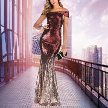 One-word Collar Gradient Sequin Dress