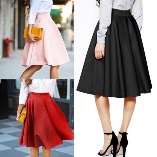 New High Waist Solid Pleated Skirts Womens Casual Elgant Red Black Pink Maxi Skirt S-XL