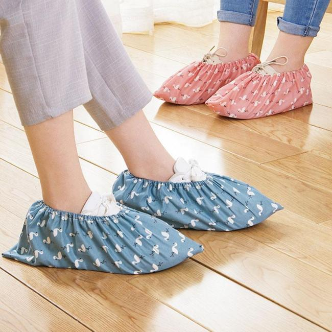 Hot Flamingo Dust Proof Feet Covers Reusable Elastic Shoe Cover Student Machine Room Feet Cover Thick Wear-resistant Foot Cover