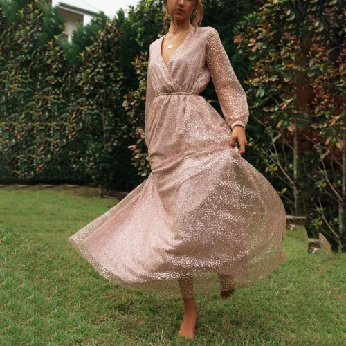 V-Neck Shiny Long-Sleeved Dress