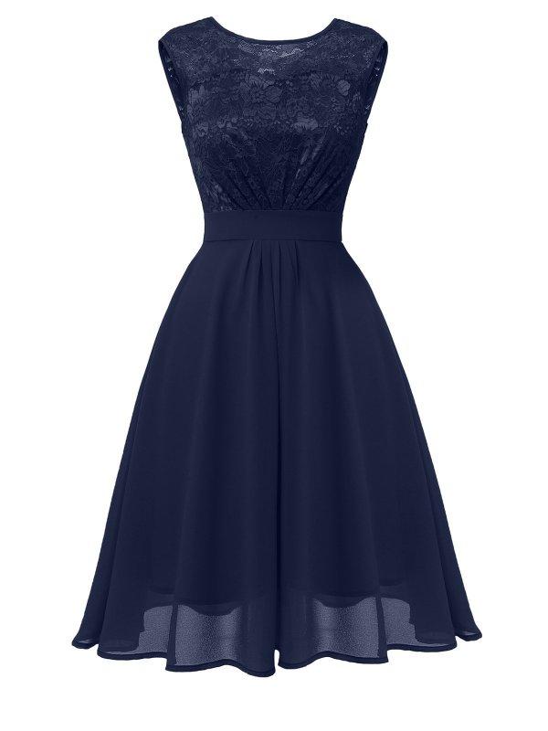 1950S Lace Floral Chiffon Dress