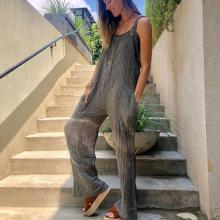EBUYTIDE Simple Grey Sling Vacation Jumpsuit