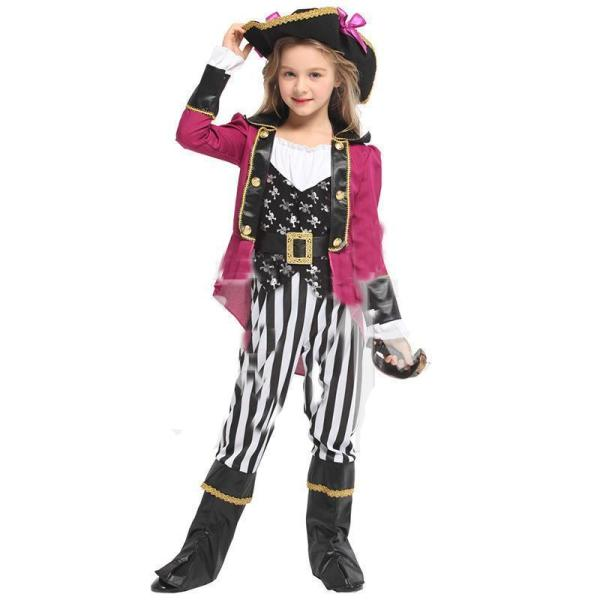 Kids Girls Halloween Pirate Costume Masquerade Jazz Girls Performance Clothing Cosplay Role Playing Costume