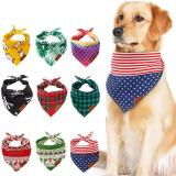 Triangle Dog Bandana, Reversible Plaid Painting Bibs Scarf, Washable and Adjustable Kerchief Set for Dogs Cats Pets