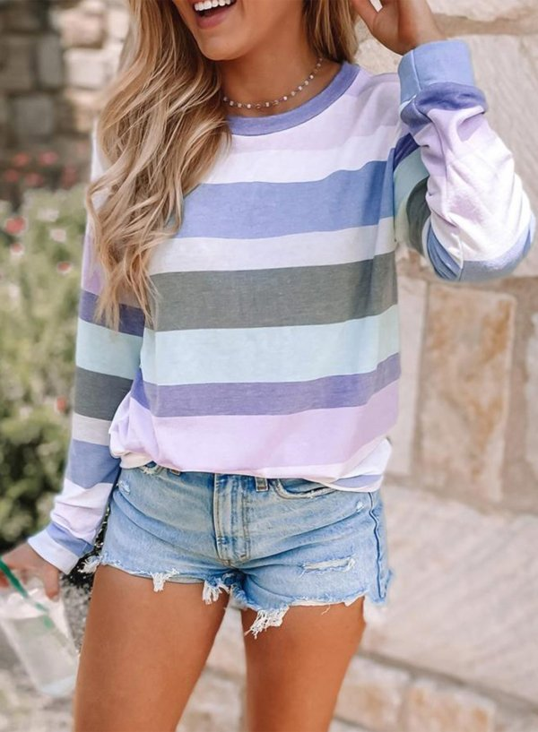 Round Neck Striped Sweatshirt