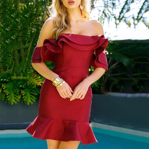 Sexy Off-The-Shoulder Slim Ruffled Sweet Zip Dress