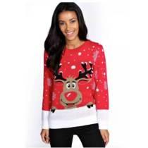 Christmas Cartoon Reindeer Knit Sweater